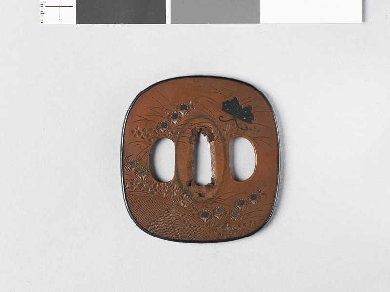 Tsuba with autumn flowers