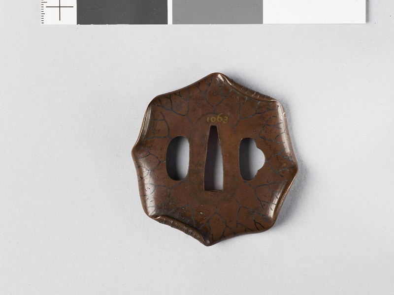 Octagonal tsuba in the form of a lotus leaf (EAX.10227, front           )