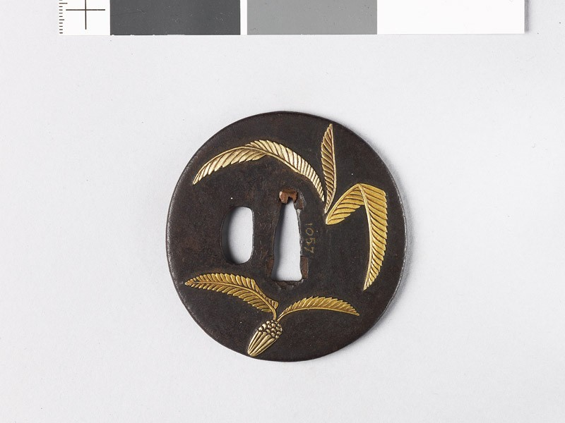 Tsuba with cycad leaves and a radish (EAX.10231, front           )