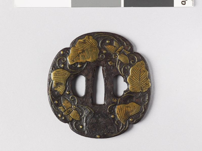 Mokkō-shaped tsuba with leaves, butterflies, and dewdrops