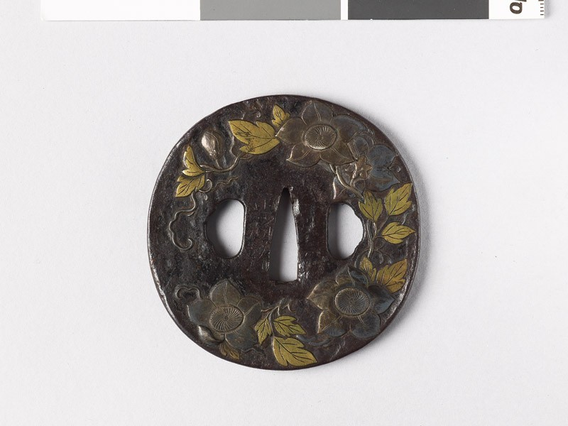 Round tsuba with clematis spray (EAX.10240, front           )