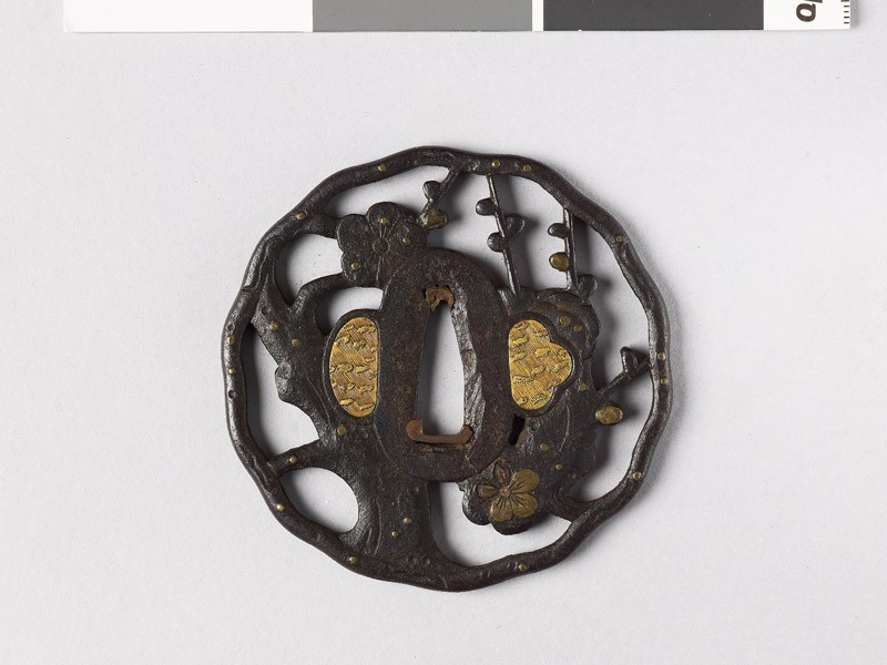 Tsuba with plum tree