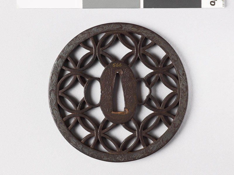 Round tsuba with interlacing rings and leaves