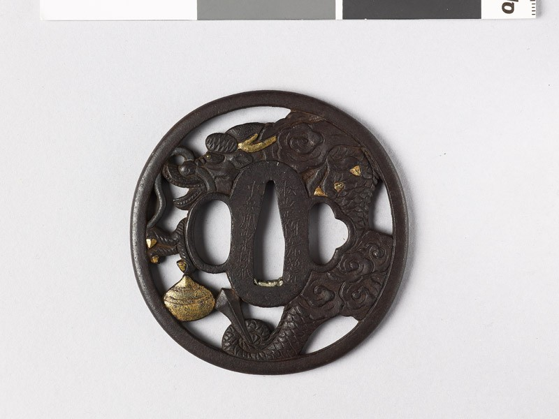 Tsuba with dragon and sacred pearl (EAX.10255, front           )