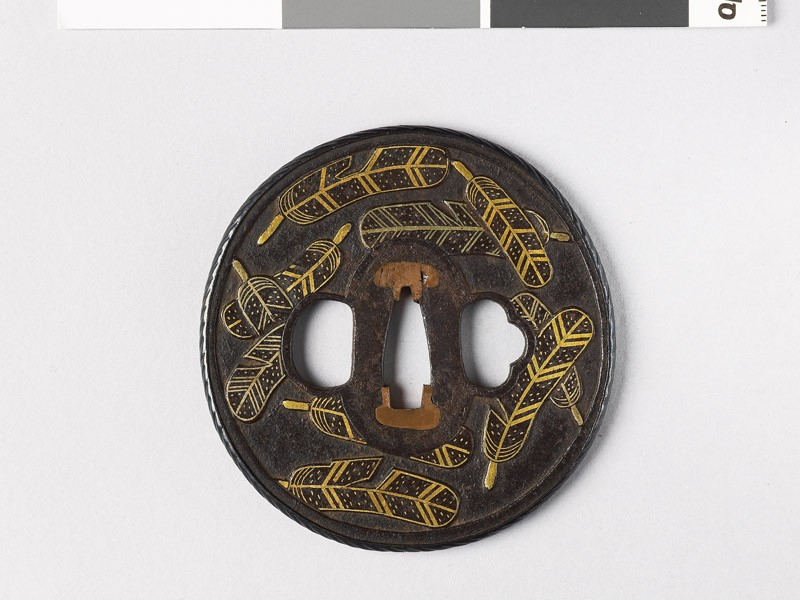 Tsuba with heraldic hawk feathers (front           )