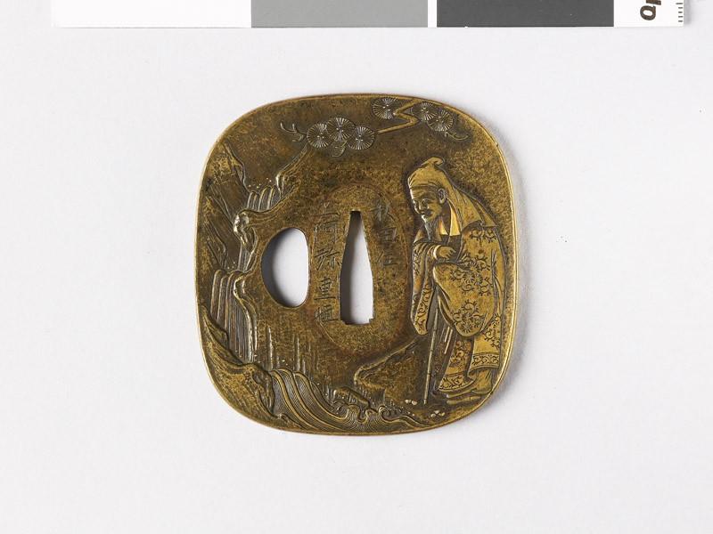 Tsuba depicting the Chinese poet Li Po