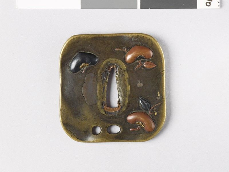 Tsuba with persimmons and bottle-gourd vine (front           )
