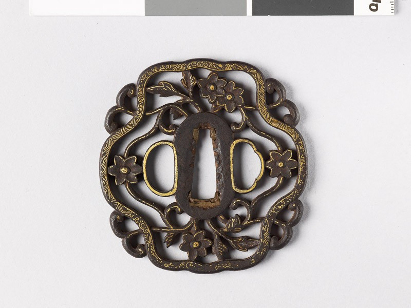 Tsuba with cruciform border and flowers (EAX.10287, front           )