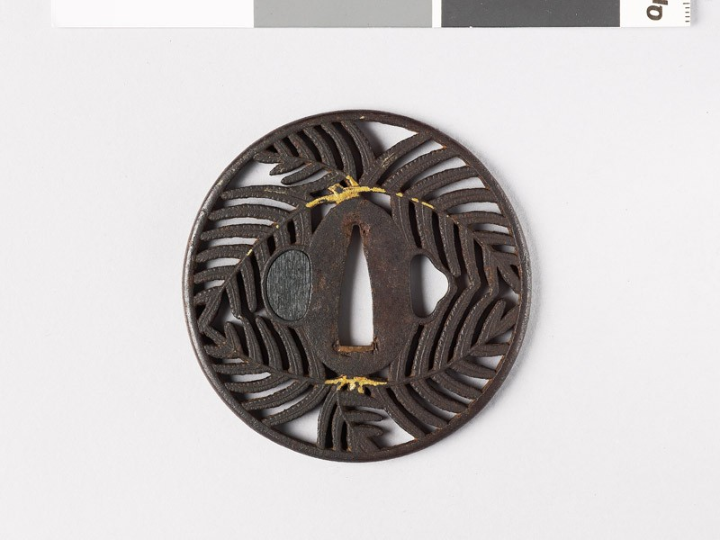 Tsuba with warabi, or bracken fronds (front           )