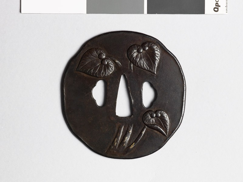Tsuba with aoi, or wild ginger (EAX.10291, front           )