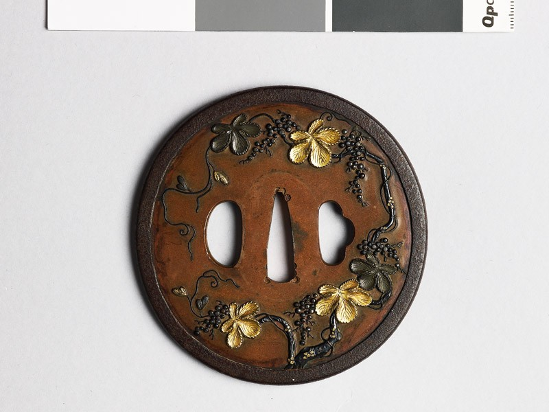 Tsuba with flowering vine (EAX.10296, front           )
