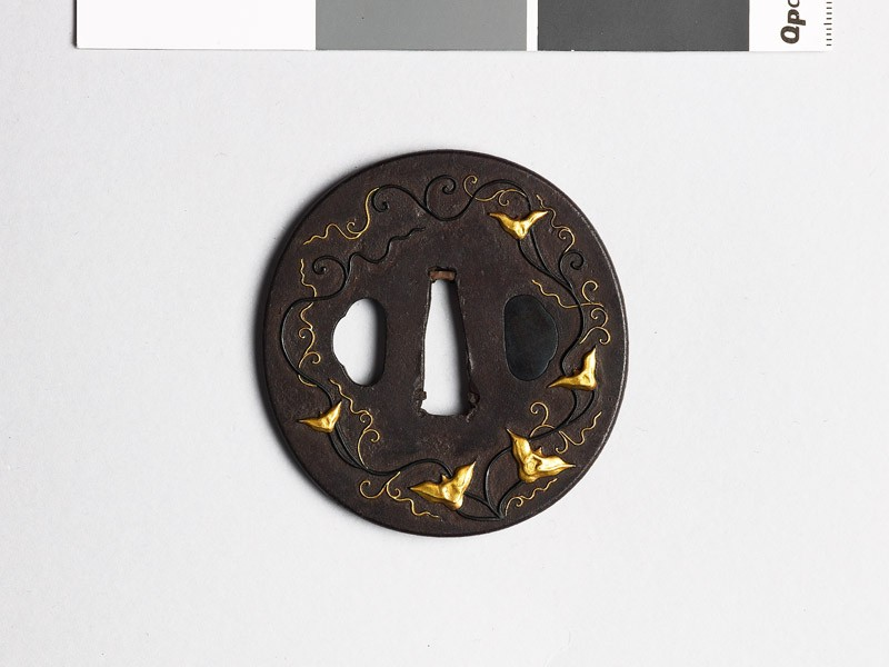 Tsuba with trailing stems and seed pods (EAX.10298, front           )