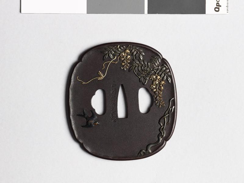 Mokkō-shaped tsuba with wisteria and a swallow