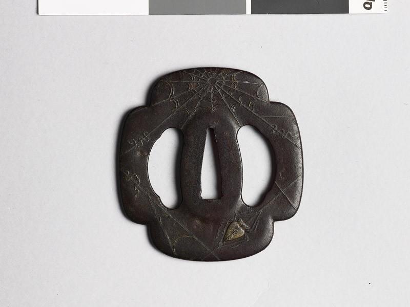 Mokkō-shaped tsuba with spider and cobweb (EAX.10316, front           )