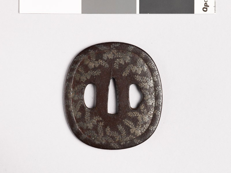 Tsuba with kiri, or paulownia, leaves (EAX.10318, front           )