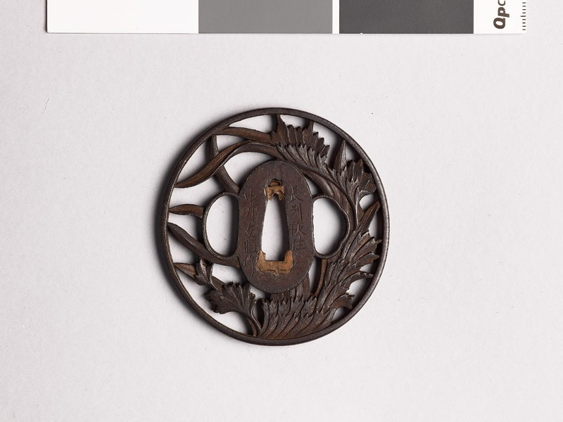 Tsuba with leafy plants (front           )