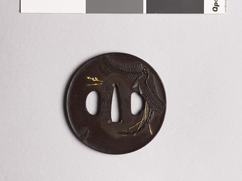 Tsuba with New Year decorations and leaves