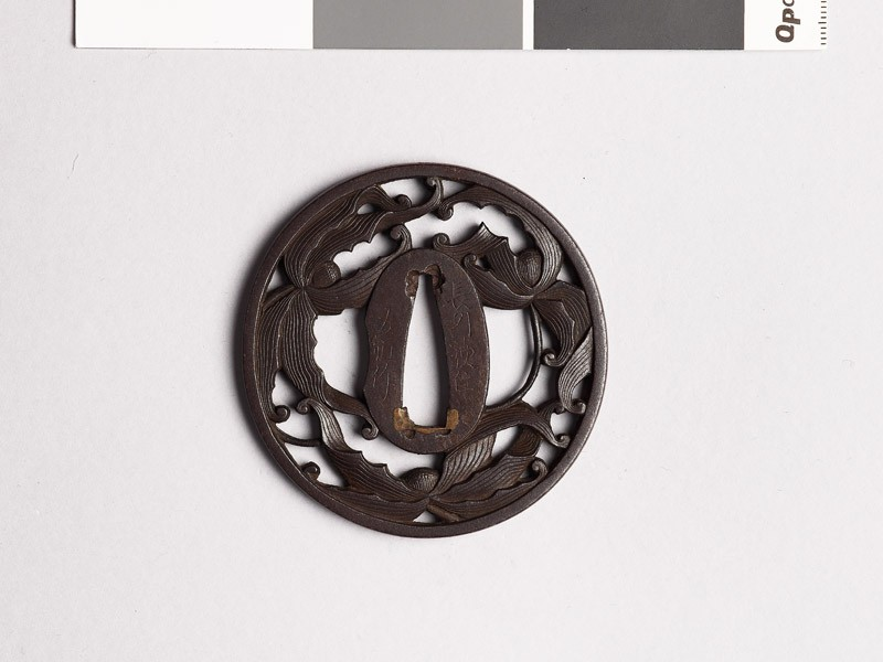 Tsuba with clematis flowers (EAX.10328, front           )