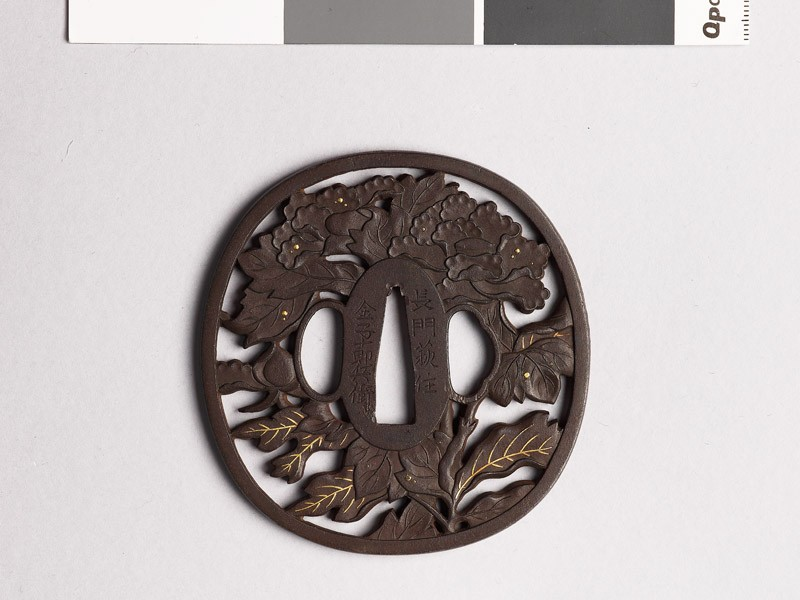 Tsuba with peony plant and dewdrops (front           )