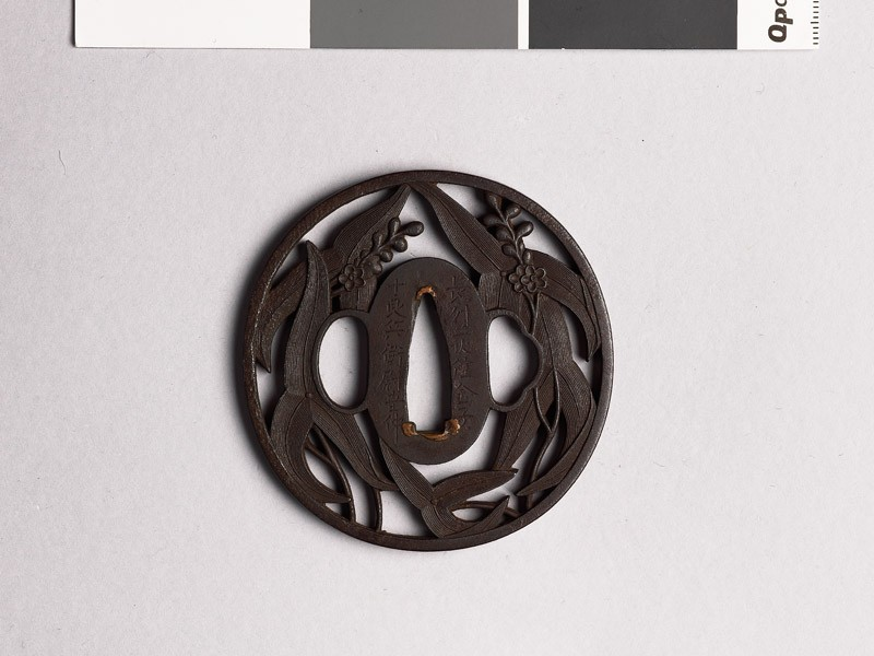 Tsuba with arrowhead leaves and flowers (EAX.10335, front           )
