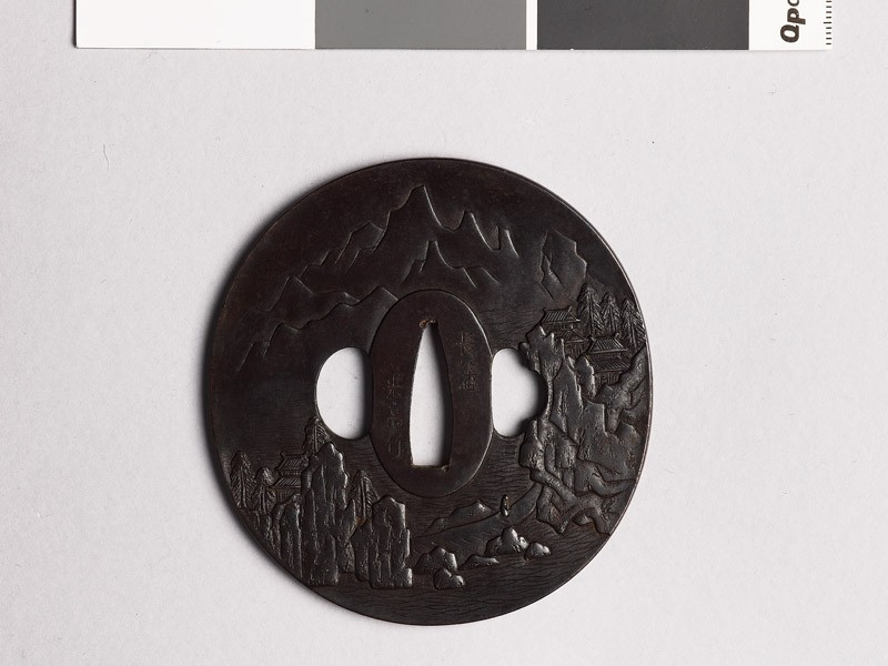 Tsuba with Chinese-style landscape (EAX.10346, front           )