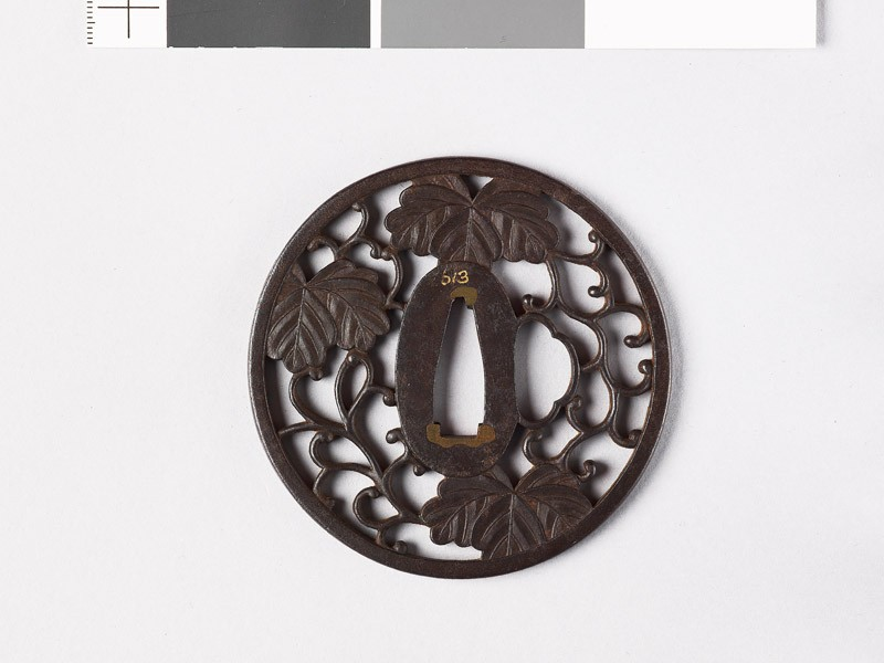 Round tsuba with Cissus leaves (EAX.10355, front           )