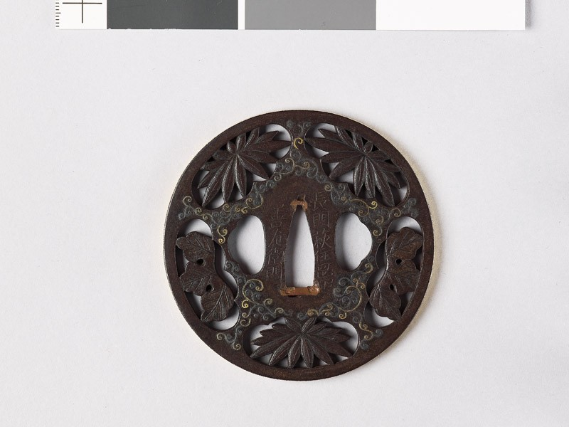 Tsuba with chrysanthemum leaves and scrolling stems (EAX.10369, front           )