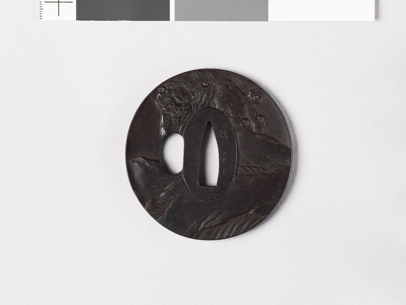 Tsuba with shishi, or lion dog, and waterfall (EAX.10384, front           )