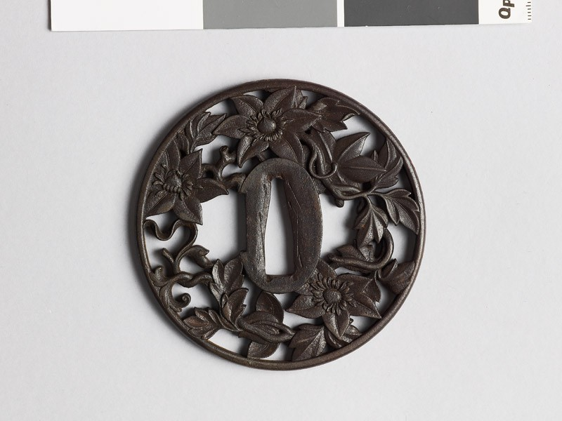 Round tsuba with clematis vine (EAX.10412, front           )