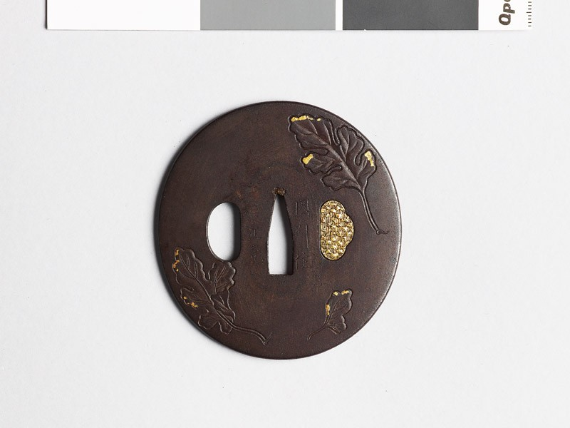 Tsuba with chrysanthemum leaves (EAX.10451, front           )