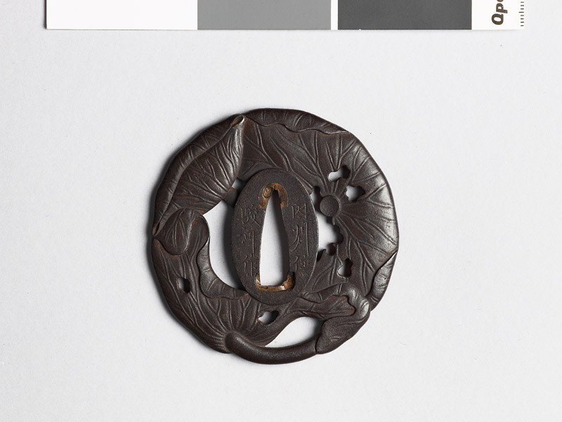 Tsuba in the form of three lotus leaves (EAX.10454, front           )