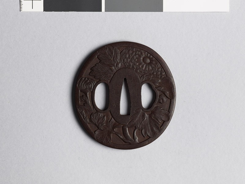 Tsuba with chrysanthemum flowers (EAX.10527, front           )