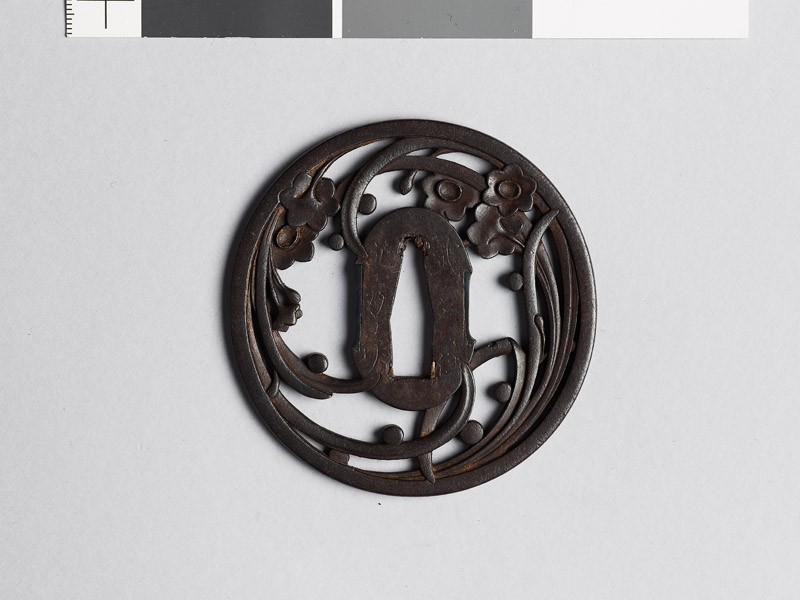 Tsuba with liliaceous plant and dewdrops (EAX.10529, front           )
