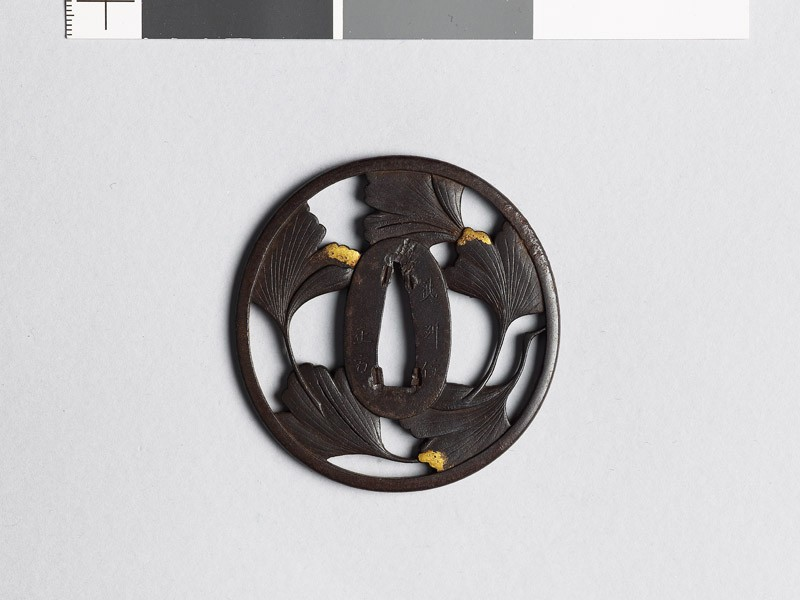 Tsuba with five gingko leaves (EAX.10531, front           )
