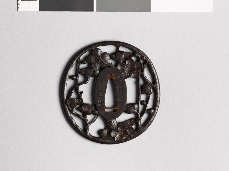 Tsuba with flowering plum branch (front           )