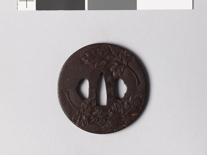 Tsuba with chrysanthemum leaves