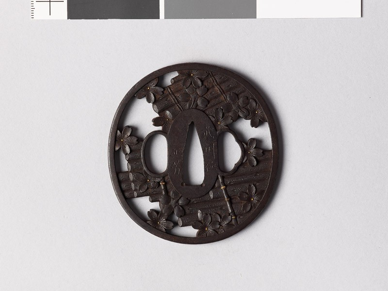Tsuba with rafts and cherry blossoms (EAX.10565, front           )