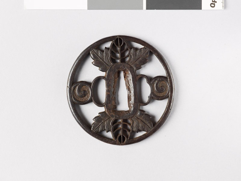 Tsuba with leaves and scrolls