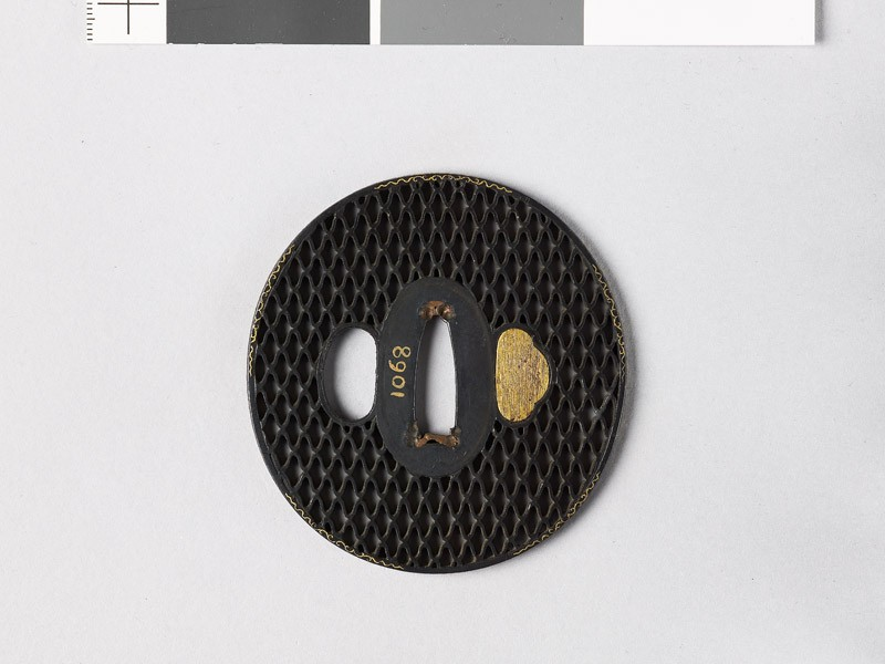 Tsuba with ajiro, or netting pattern (front           )