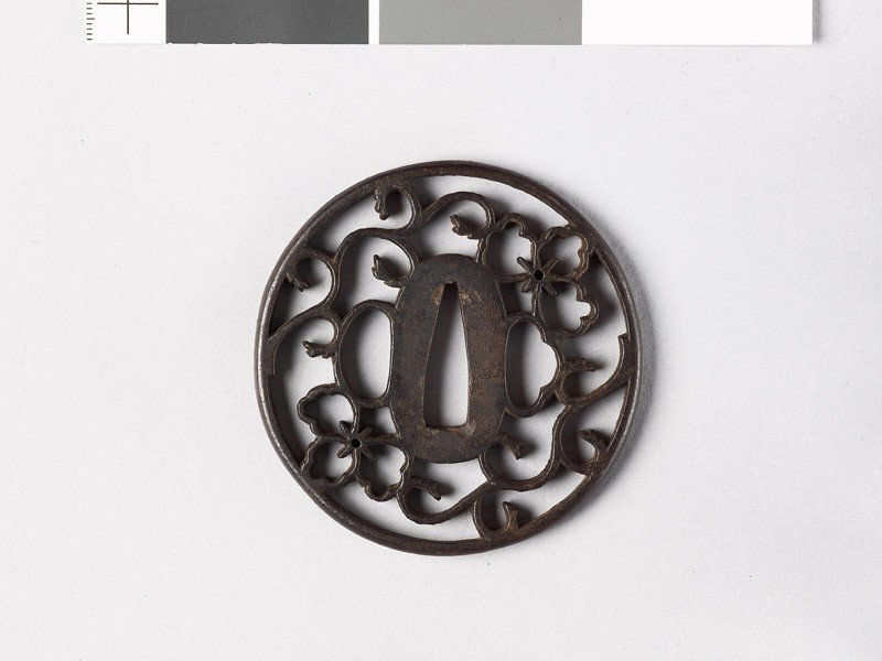 Tsuba with floral scrolls and Chinese flowers (EAX.10667, front           )