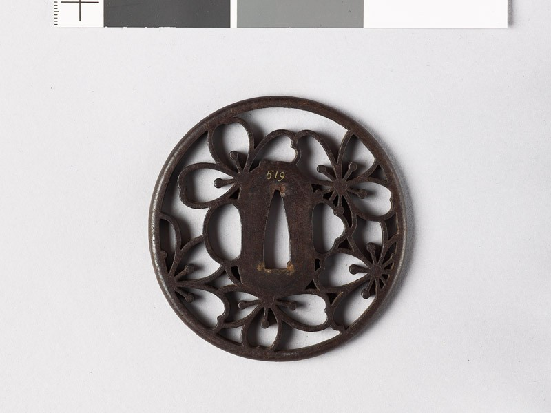 Tsuba with cherry blossoms (EAX.10671, front           )