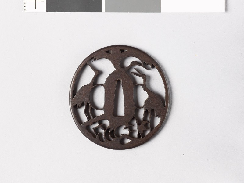 Tsuba with three cranes representing the mythical Mount Hōrai (EAX.10675, front           )
