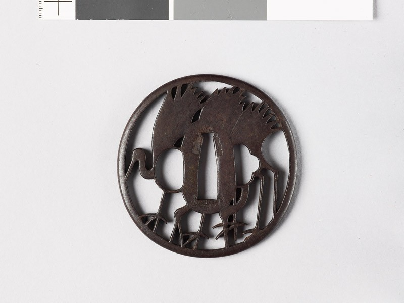 Tsuba with three cranes (front           )