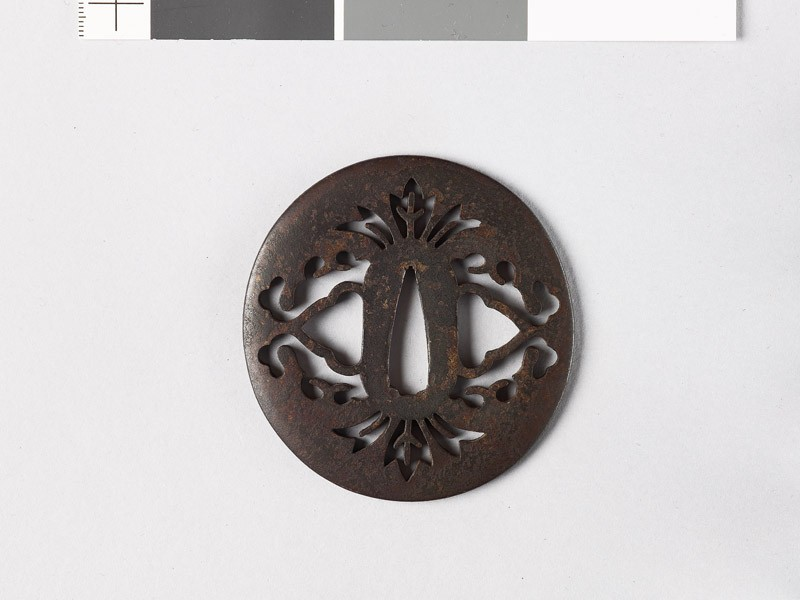 Lenticular tsuba with stylized flowers (EAX.10696, front           )