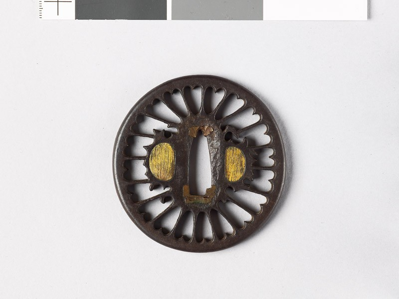 Tsuba with chrysanthemoid florets