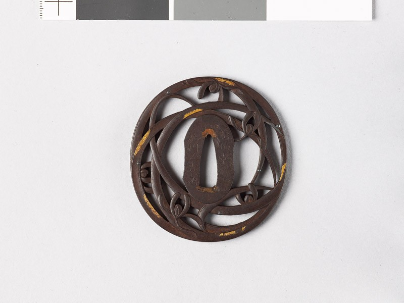 Tsuba with orchids and dewdrops (EAX.10704, front           )