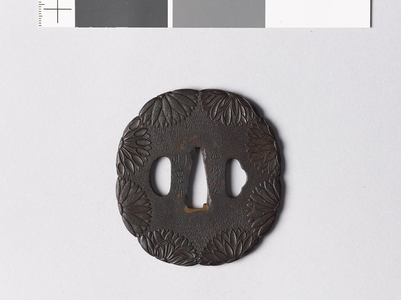 Lobed tsuba with chrysanthemum flowers (EAX.10725, front           )