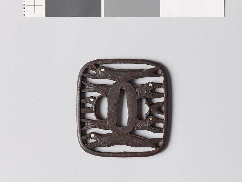 Tsuba with himono, or dried salmon (EAX.10733, front           )