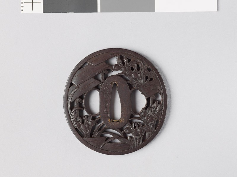 Tsuba with iris plants and bridges in a swamp (EAX.10736, front           )
