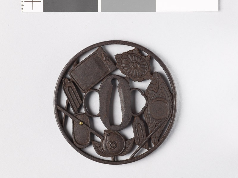 Round tsuba with writing impliments (EAX.10771, front           )